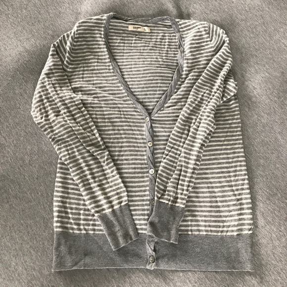 Old Navy Sweaters - Grey and white striped cardigan